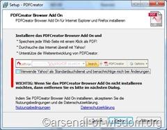 PDF Creator Setup, ersterHaken