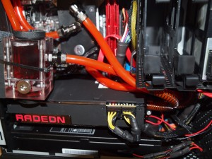 Installed with custom tubes inside the Hadron, the R9 Fury X fits nicely.
